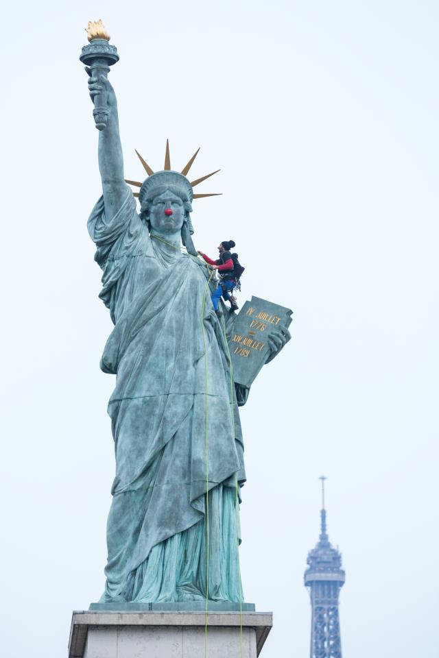 Clown Nose on Statue of Liberty