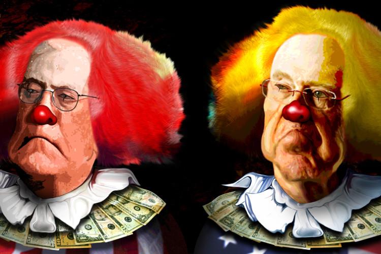 #1 koch brothers as clowns