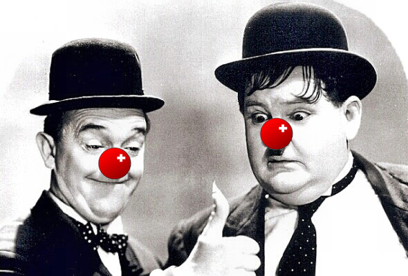 Laurel & Hardy with Flaming Thumb